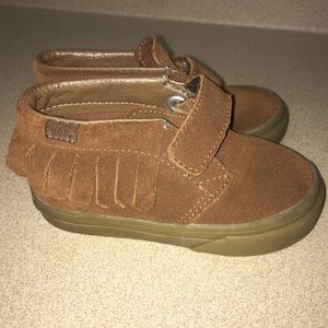 Little girls Vans Chukka fringe brown suede Velcro